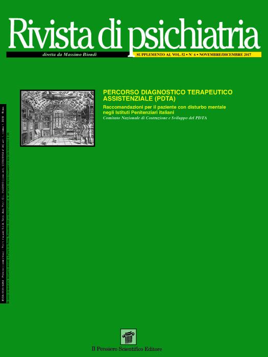 2017 Vol. 52 Suppl. 1 al N. 6 Novembre-DicembrePercorso Diagnostico Terapeutico Assistenziale (PDTA) Raccomandazioni per il paziente con disturbo mentale negli Istituti Penitenziari italiani